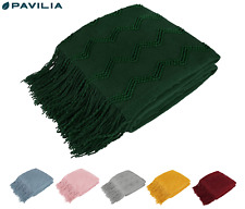 Decorative Fringe Throw Blanket for Couch Bed Sofa Soft Texture Knitted Blanket