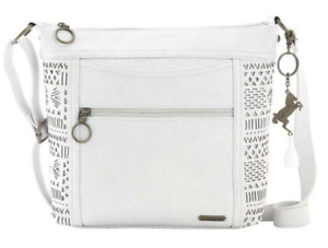 Women's Sakroots Arcadia Finn Crossbody Stone Aztec Embossed NEW With Defects