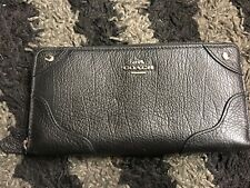 NWT Coach Mickie Accordion Leather Black Wallet F55404 New 55404 Silver