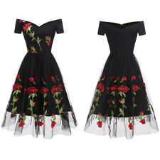 Off Shoulder Womens 1950s Vintage Swing Party Evening Cocktail Prom Bardot Dress