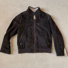 Gimo's Suede Leather Chocolate Brown Jacket Size L Reversible Free Shipping