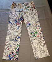 Lisette pull-on stretch print ankle pants size 8