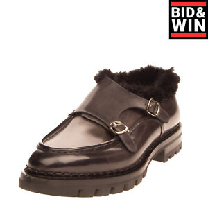 RRP €1175 SANTONI Leather Monk Strap Shoes EU43 UK9 US10 Mink Fur Trim Polished