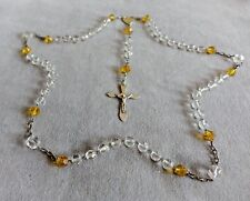 """Antique French Rosary~Handmade Silver Apostles' Crucifix~Gold/Clear Crystals~24"""""""