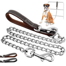 Large Dog Chain Leash Heavy Duty Outdoor Walking Lead with Leather Handle Boxer