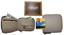 Men's wallet, Zip around Bifold Leather Wallet. Natural Grain wallet New In Box