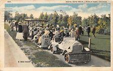 F47/ Chicago Illinois Postcard 1920 Fadgl Auto Train Lincoln Park Rigot