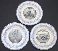 """Antique Creil Faience 3pc Cabinet Plate Set, """"Theatre Des Marionnettes"""""""
