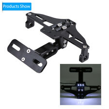 Black Motorcycle Adjustable Aluminum License Plate Holder Bracket Tail LED Light