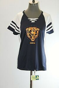 NEW Majestic Chicago Bears Football Womens Large Blue & White Short Sleeve Shirt