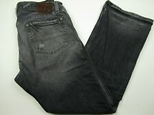 Mens Polo Ralph Lauren 35x30 Gray 100% Cotton Distressed Bootcut Denim Jeans