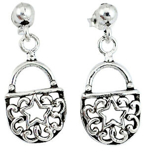 925 Sterling Silver Indonesian Bali Style Solid Sexy Purse Earrings P2662