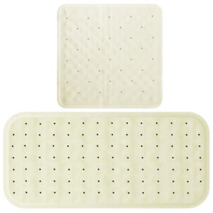 NON SLIP BATH SHOWER RUBBER MAT WITH SUCTION CUPS LONG AND SQUARE BATHTUB INSERT
