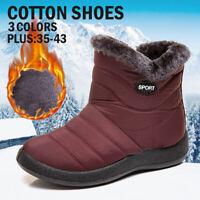 Women Winter Warm Fur-lined Ankle Snow Boot Slip On Waterproof Flat Casual Shoes