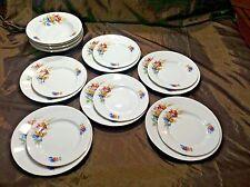 TK Thun Czechoslovakia Porcelain 6 Dinner/Salad Plates/Bowls Wildflowers Poppies
