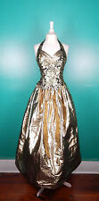 VINTAGE 80'S 90'S GUNNE SAX GOLD LAME HALTER PROM BALLGOWN PARTY DRESS 5/6