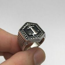 Turkish Jewelry Cool Sailor Anchor Marcasite 925K Sterling Silver Men's Ring