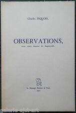 """Charles PIQUOIS (1914-2005) livre de poèmes 1951 """"OBSERVATIONS"""" Robert LAPOUJADE"""