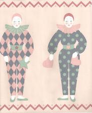 Circus Clown Harlequin Heart Star Blue Check Pastel Pink Peach Wall paper Border