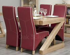 Z solid oak designer furniture dining table and four leather chairs set