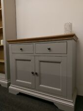 Eton Soft Grey & Oak Small Sideboard / Painted Combi 2 Door 2 Drawer Cupboard