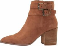 Steven by Steve Madden Womens Pearle Fabric Almond Toe, Chestnut Suede, Size 6.0