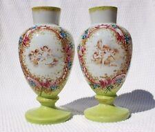 Stunning Pair Antique Victorian Bristol Glass Vases Handpainted Cherubs Flowers