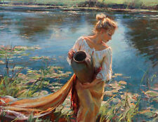 ZWPT244 large 100% hand-painted pond landscape girl art oil painting on canvas