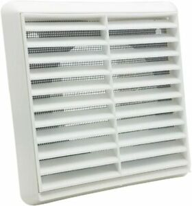 """White Extractor Fan Ducting Wall Fixed Louvered Grille Ventilation 4"""" / 100mm"""