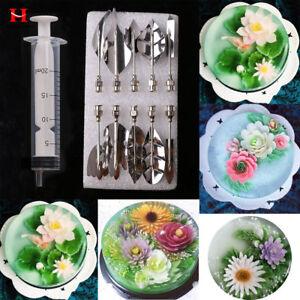 11PCS 3D Gelatin Jelly Art Mold Cake Jello Tools Pudding Nozzle Syringe Kit UK