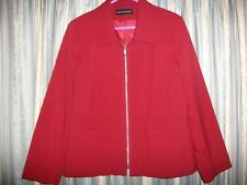 Red Fitted Zip-Front Jacket Size 18 WARDROBE