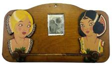 Antique 1920s Miami Art Deco Tropical Flapper Flamenco Dancer Figural Wood Rack