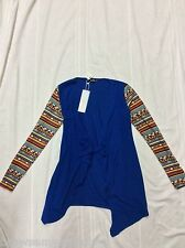 GeeGee Blue Cardigan With Aztec Tribal Print Sleeve Size Small