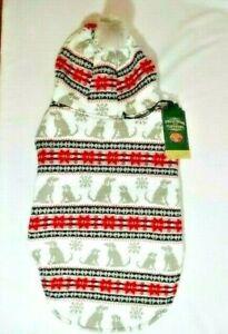 Telluride Clothing Company Dog Sweater Coat Hooded Pompom Snowflakes Size LG