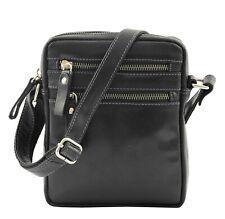 Luxury Black Leather Unisex Cross Body Flight Bag Multi Zip Pockets Small Pouch