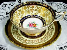 PARAGON COBALT FANCY GOLD GILT ROSE FLORAL TEA CUP AND SAUCER MARRIAGE