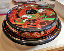 New listing Best Shaddy Brand Japanese Lazy Susan Lacquer Lidded Serving Condiment Tray
