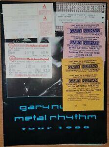 Gary Numan Metal Rhythm Tour Programme 1988 with 9 Ticket stubs