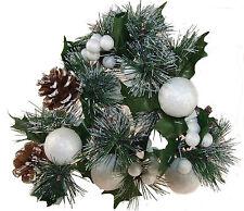 6 X Blanco Bola de Nieve Navidad Artificial Flor, decoraciones de Cono de Pino arrangemen