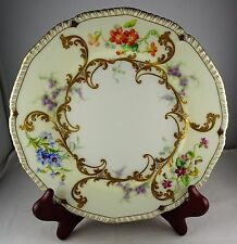 Limoges (?) Antique Porcelain Cabinet Plate - Heavy Gold, Florals, Artist Signed