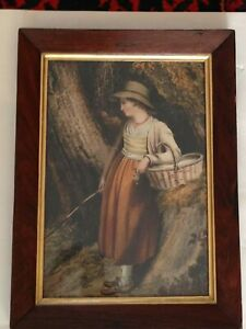 """Lovely Antique Oak Picture Frame and Print - 16"""" x 12"""""""