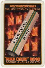 Playing Cards 1 Single Swap Card - Old FIRE CHIEF HOSE Advert FOR FIGHTING FIRES