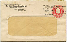 GB 1913 CLINICAL RESEARCH ASSOCIATION PRINTED STO STATIONERY WINDOW ENVELOPE
