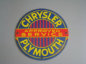 CHRYSLER PLYMOUTH APPROVED SERVICE METAL SIGN PORCELAIN?