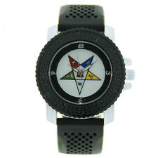 Order of the Eastern Star Watch - Black Silicone Band - OES Symbol CZ Bling Face