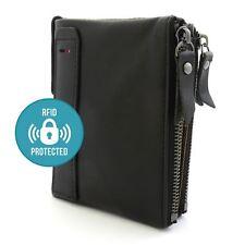 Para Hombre Negro 100% Genuino Suave Cuero Billetera Soporte De Tarjeta Con Cremallera RFID Protección
