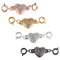 4 Colors Metal Plated Rhinestone Heart Magnetic Necklace Clasps For Jewelry