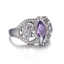 2.3ct Marquise Cut Purple Amethyst Floral Engagement Ring 14k White Gold Finish