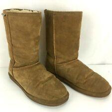 BEARPAW Women's Brown Tan Suede Sheepskin Wool Lining Boots Size 11