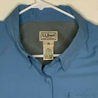 LL Bean Mens Vented Fishing Shirt LS Blue XL